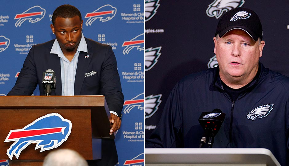 LeSean McCoy (Photo | Kevin Hoffman, USA Today sports). Chip Kelly (Photo | Jeff Fusco)