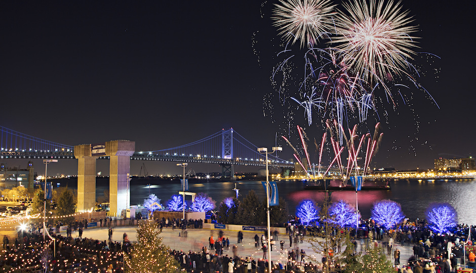 View of New Year's Eve fireworks from Blue Cross RiverRink Winterfest | Photo by Matt Stanley