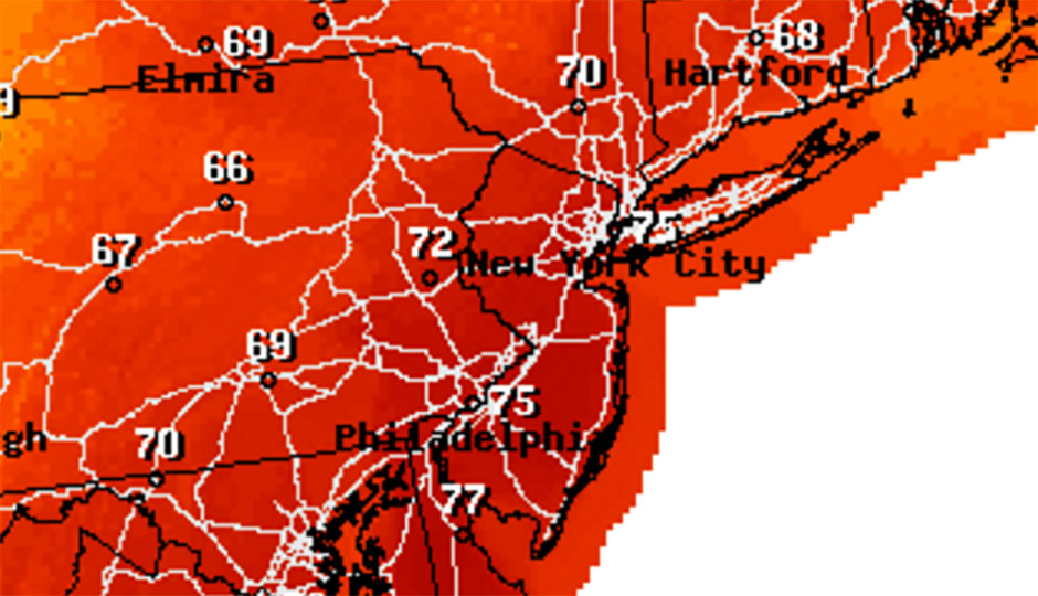National Weather Service forecast - Christmas Eve - 75 degrees in Philadelphia