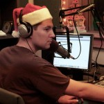 Jon Solomon feeling festive in his studio at WPRB.