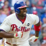 Philadelphia Phillies first baseman Ryan Howard (6) runs the bases after hitting a two RBI home run during the third inning against the Chicago Cubs at Citizens Bank Park. | Bill Streicher-USA TODAY Sports