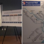 SEPTA's Ron Hopkins explains new service patterns on the Warminster, West Trenton and Airport lines (left). A map of the regional rail system with a North Broad bottleneck highlighted. Photos | Sandy Smith