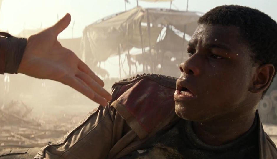 GIVE HIM A HAND: John Boyega's Finn TK.