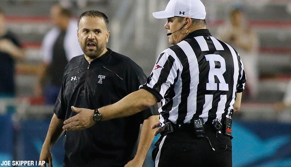 Temple coach Matt Rhule argues an onside kick recovery call with the referee during the second half of the Boca Raton Bowl NCAA college football game against Toledo, Tuesday, Dec. 22, 2015, in Boca Raton, Fla. Toledo defeated Temple 32-17.