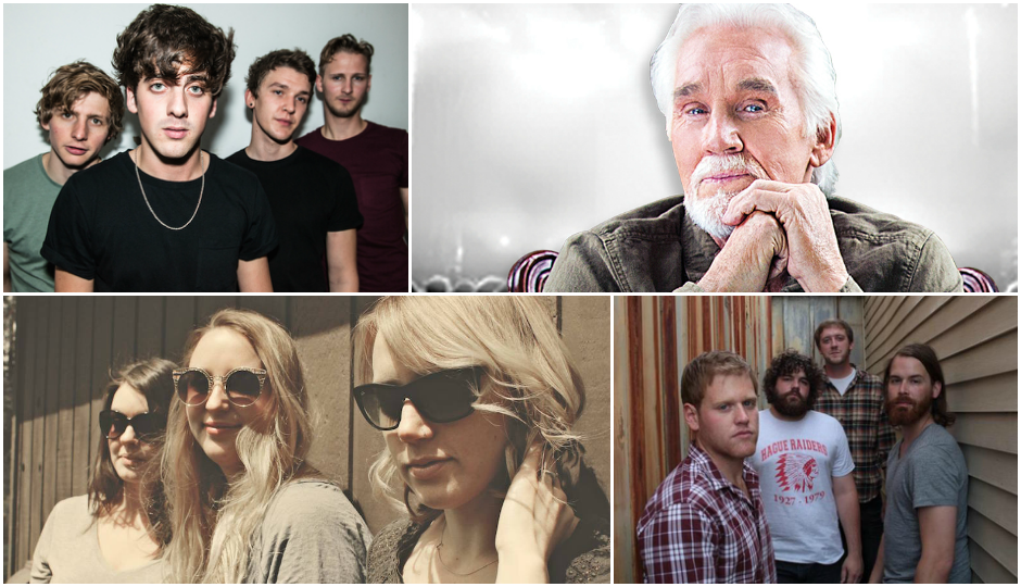 From top left going clockwise: We Are Scientists, Kenny Rogers, TK and TK all play in town this weekend.