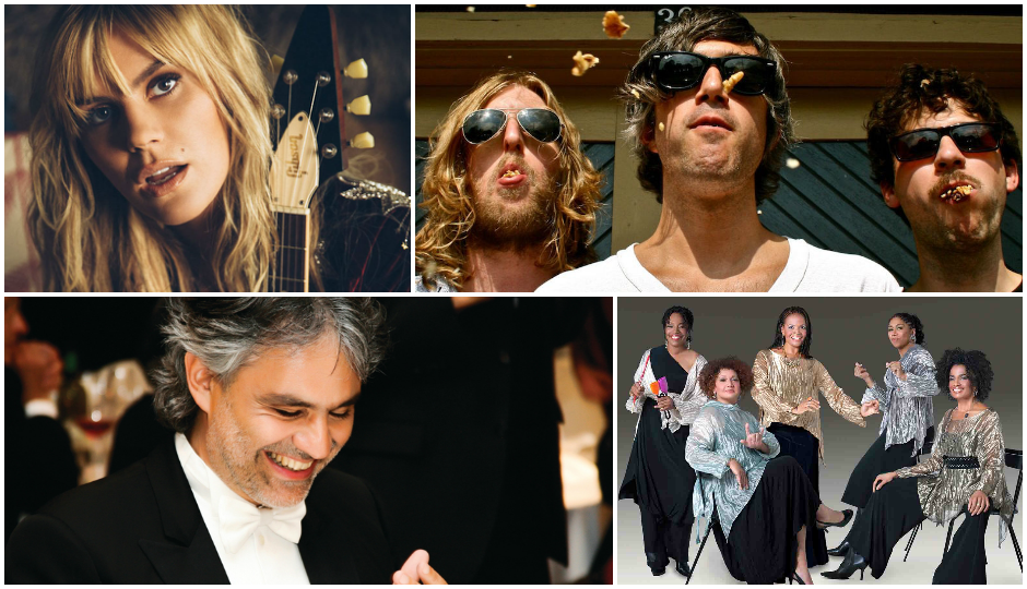 From top left, going clockwise: Grace Potter, We Are Scientists, Sweet Honey In the Rock, Andrea Bocelli