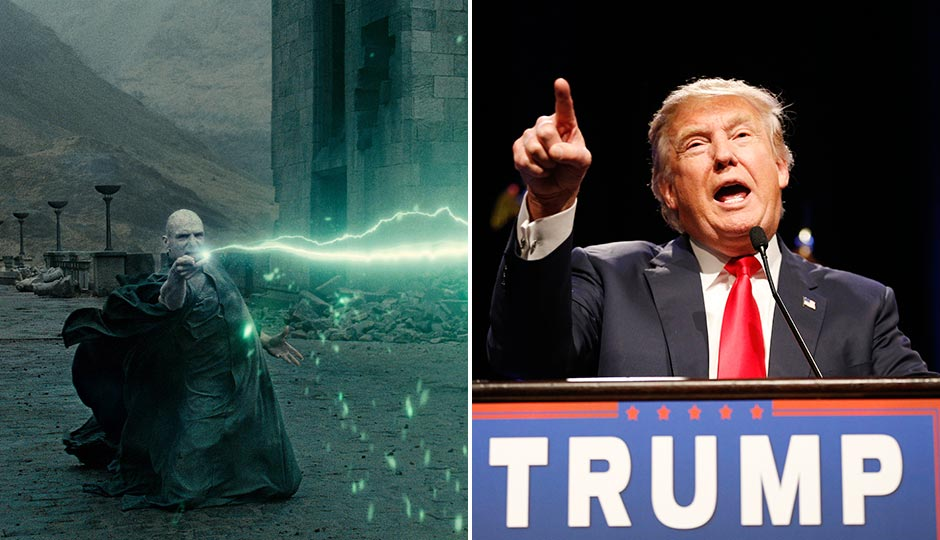 Left: Ralph Fiennes as Lord Voldemort in Harry Potter and the Deathly Hallows  (Courtesy of Warner Bros.) Right: Donald Trump in Las Vegas. (John Locher, AP)