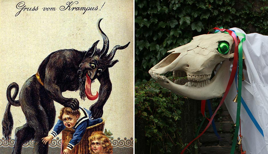 "Left: ""Gruss vom Krampus"" by Unknown - Historie čertů KrampusUploaded by Kohelet. Licensed under Public Domain via Commons. Right: ""Mari Lwyd (wiki)"" by R. fiend - Own work. Licensed under CC BY-SA 3.0 via Commons."
