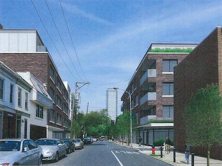 The original design of the 8th Street buildings. Rendering | JKRP Architects for Toll Brothers