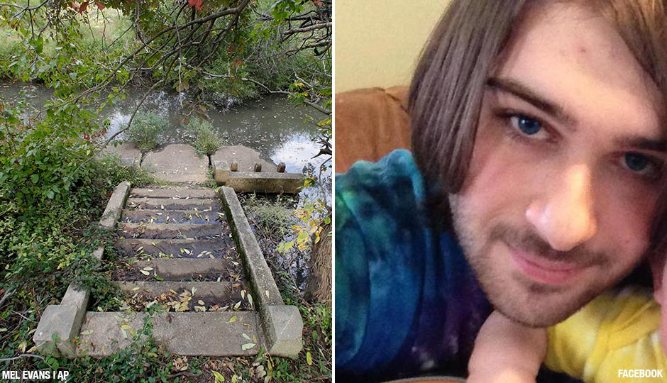 Left: An old stairway leads to a branch of the Cooper River, in Cooper River park, in the area where 3-year-old Brendan Link Creato was found dead, Tuesday, Oct. 13, 2015, in Haddon Township, N.J. Authorities say the boy, who was reported missing Tuesday morning, was found dead three hours later in woods about a half-mile from his home. Right: D.J. Creato