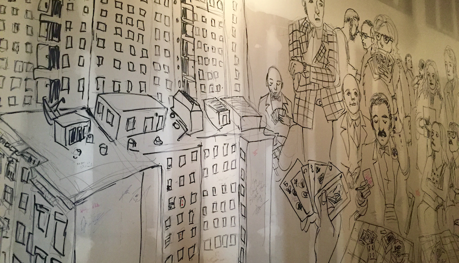 A mural by Aaron Krolikowski depicting Omar Sharif's bridge competitions at The Drake.