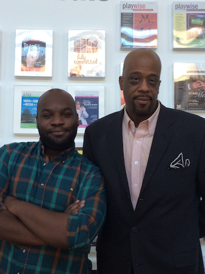 Playwright Ike Holter (left) with Brothers' Network Creative Director Gregory Walker. Photo | Sandy Smith