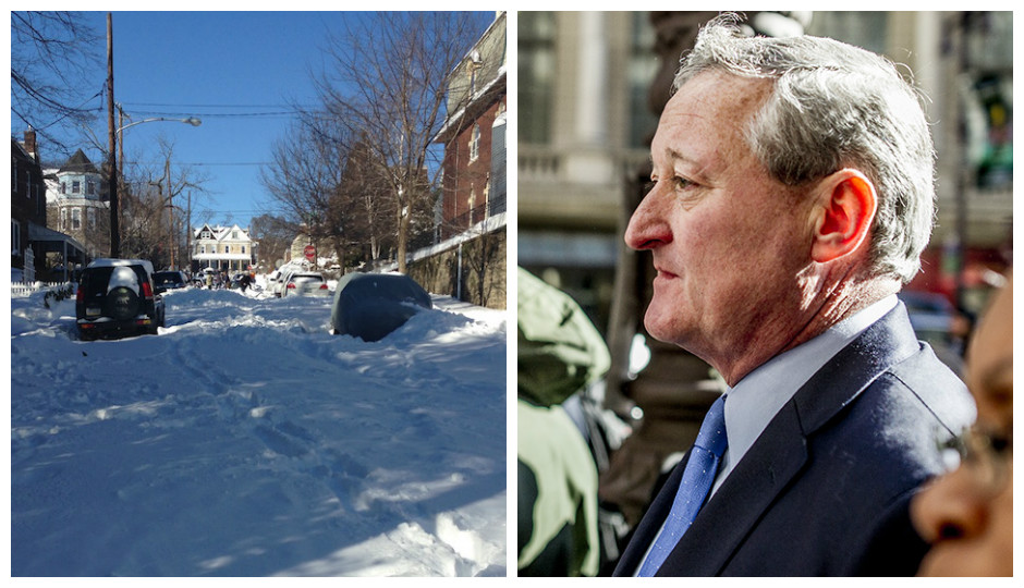 L to R: Freeland Avenue in Manayunk as of Sunday, and Mayor Kenney on Inauguration Day.   Photos by Tim Haas and Jeff Fusco