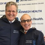 Joseph Devine (left) with Dr. Stephen Klasko announcing the merger between Jefferson and Kennedy Health.
