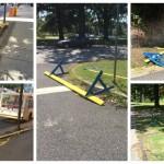 Police barricades strewn about Center City and Fairmount Park. | Photos courtesy of X
