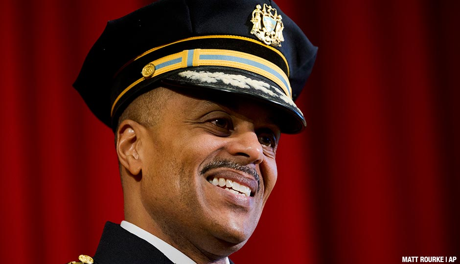 "Richard Ross smiles during his swearing in ceremony as Philadelphia's new police commissioner, Tuesday, Jan. 5, 2016, at his alma mater, Central High School, in Philadelphia. Ross said his top priority is reducing crime while improving community relations in what he called ""a challenging time for law enforcement."""