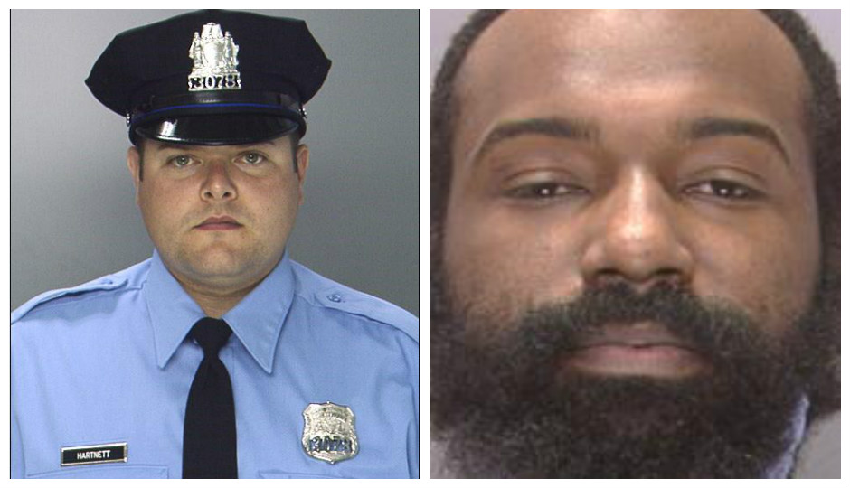 From L to R: Police Officer Jesse Hartnett and suspect Edward Archer | Photos via the Philadelphia Police Department