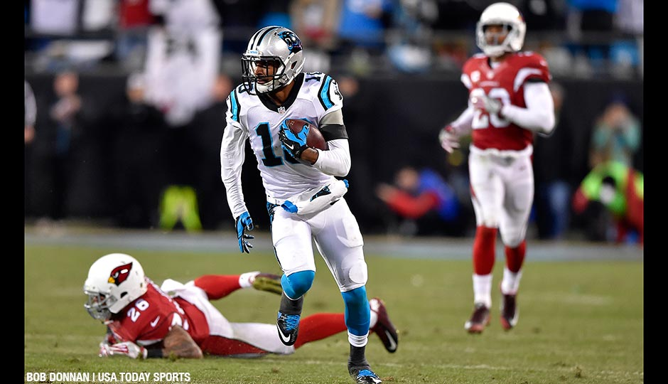 Carolina Panthers wide receiver Corey Brown (10) runs for a touchdown during the first quarter against the Arizona Cardinals in the NFC Championship football game at Bank of America Stadium.