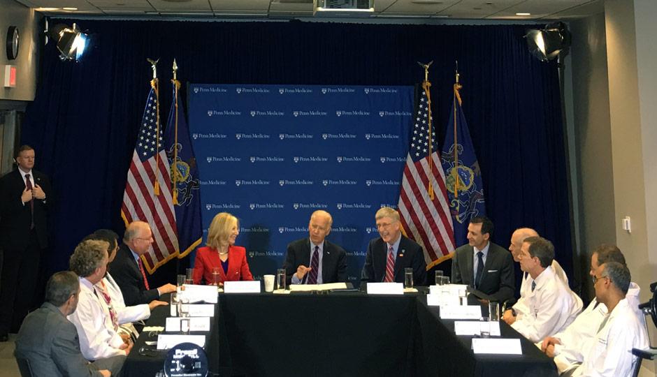 Joe Biden, Amy Gutmann, Francis Collins