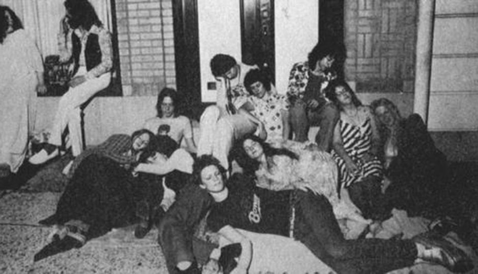 """""""Bowie kids"""" in front of Sigma Studios on 12th Street near Race during the recording of Young Americans in 1974."""