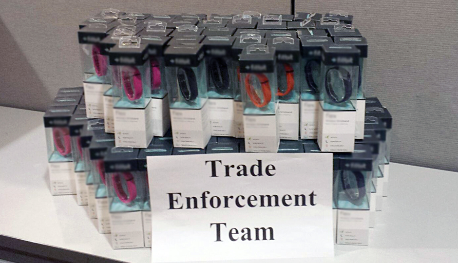 The seized counterfeit Fitbits | Photo via U.S. Customs and Border Protection