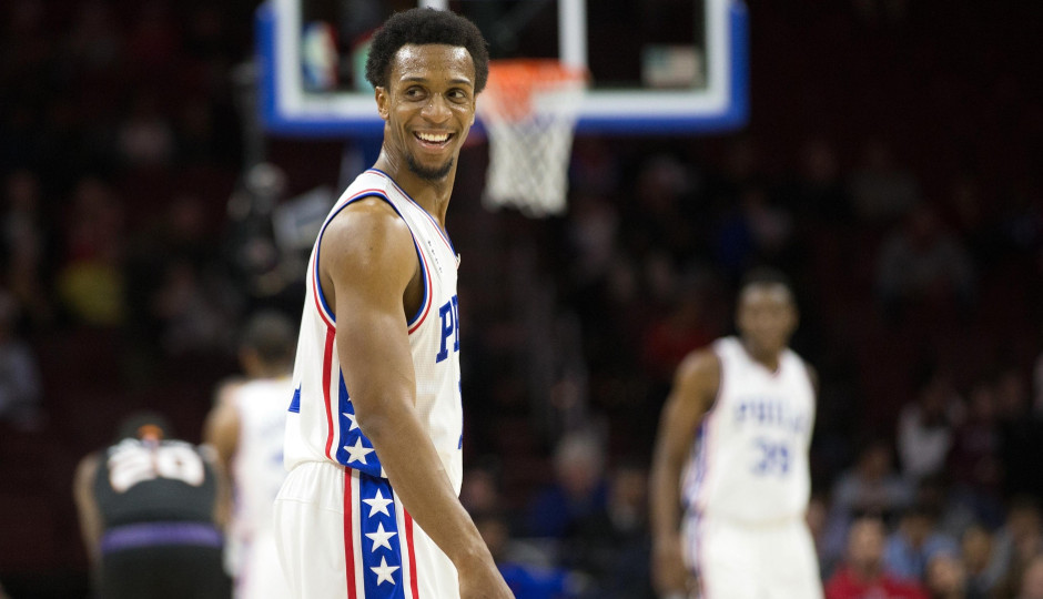 Philadelphia 76ers guard Ish Smith (1) smiles back at his bench as time winds down against the Phoenix Suns at Wells Fargo Center. The Philadelphia 76ers won 113-103   Bill Streicher-USA TODAY Sports