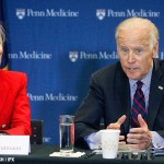 "Vice President Joe Biden, pictured with Penn's Dr. Amy Gutmann, launches a ""moonshot"" initiative to hasten a cure for cancer at Penn Medicine's Abramson Cancer Center in Philadelphia on January 15th, 2016."