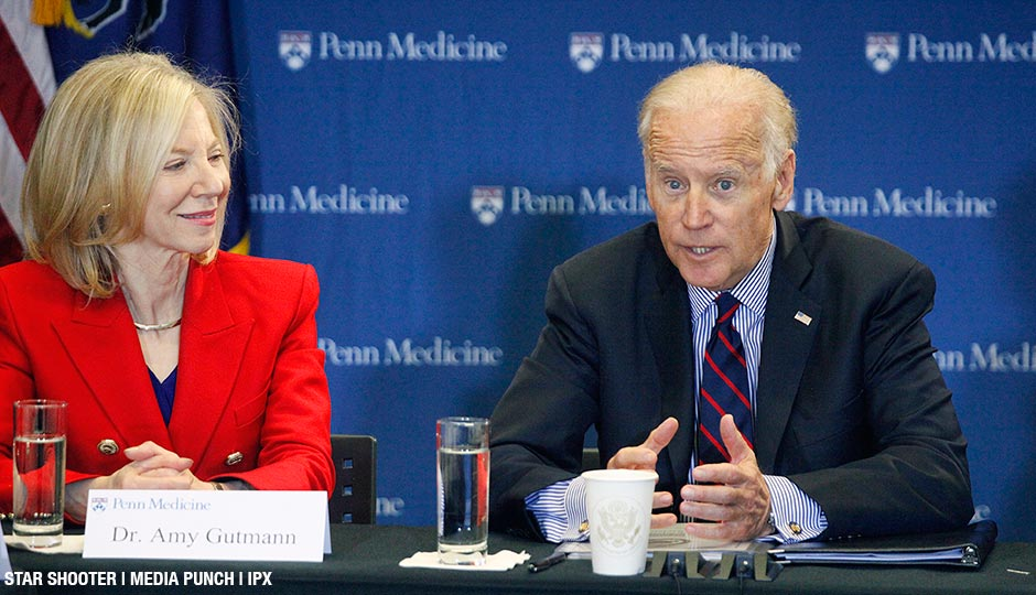 "Vice President Joe Biden, pictured with Penn's Dr. Amy Gutmann, launches a ""moonshot"" initiative to hasten a cure for cancer at Penn Medicine's Abramson Cancer Center in Philadelphia on January 15, 2016."
