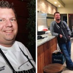Chef Mike Stollenwerk before his 160-pound weight loss and after.