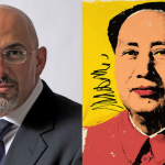 Left: British Parliament member Nadhim Zahawi in official British government photo. Right: One of the Warhol paintings in question.