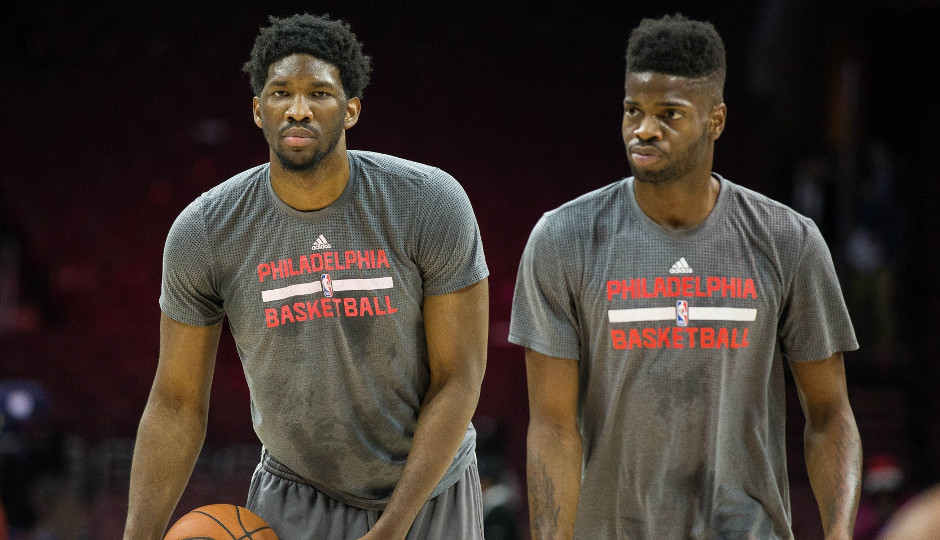 Big men Nerlens Noel and Joel Embiid work out prior to a game against the Memphis Grizzlies earlier this year | Bill Streicher-USA TODAY Sports