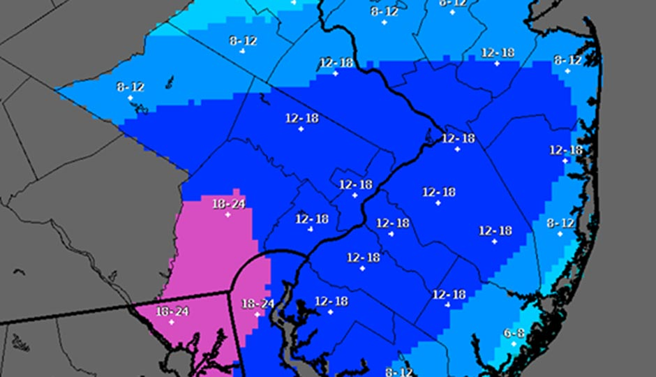 The National Weather Service's latest snowfall prediction map as of 5 a.m. Friday