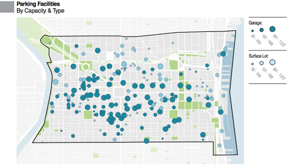 Center City parking facilities by capacity and type, via the Philadelphia City Planning Commission's 2015 Center City Parking Inventory study.
