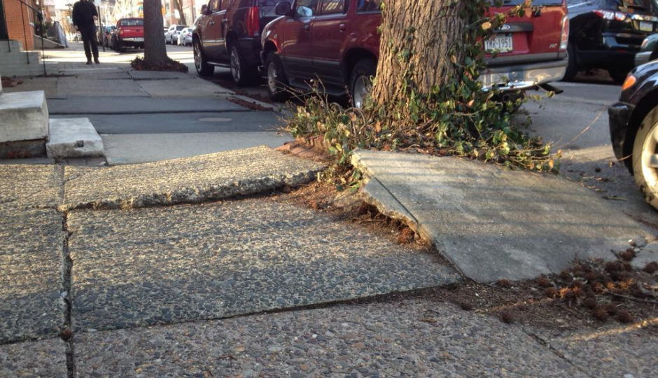 A big tripping hazard on 24th Street. | Photo courtesy of reader @philavore.