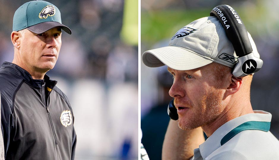 Left: Pat Shurmur (Jeff Fusco); Right: Sean McDermott as the Eagles defensive coordinator in 2009 (Howard Smith, USA Today Sports)