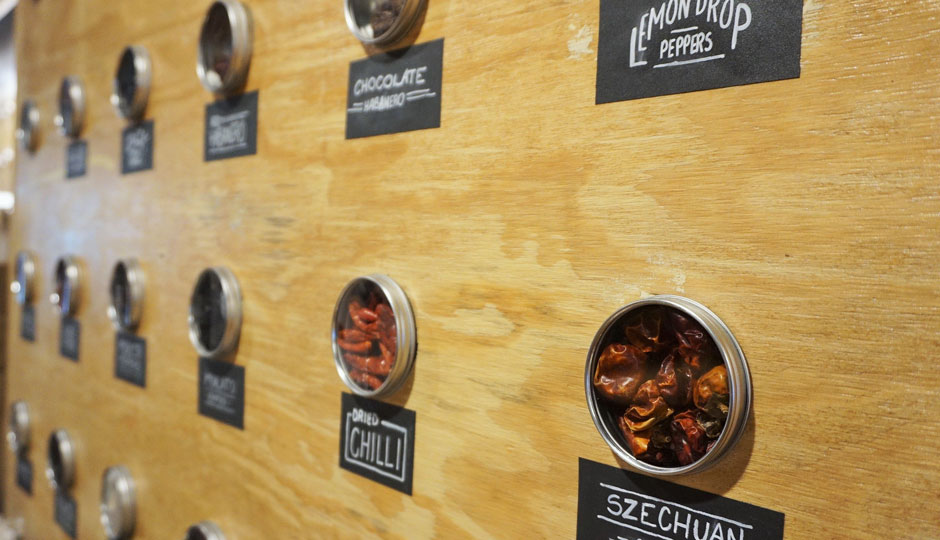 The Pepper Wall at Revolution Taco