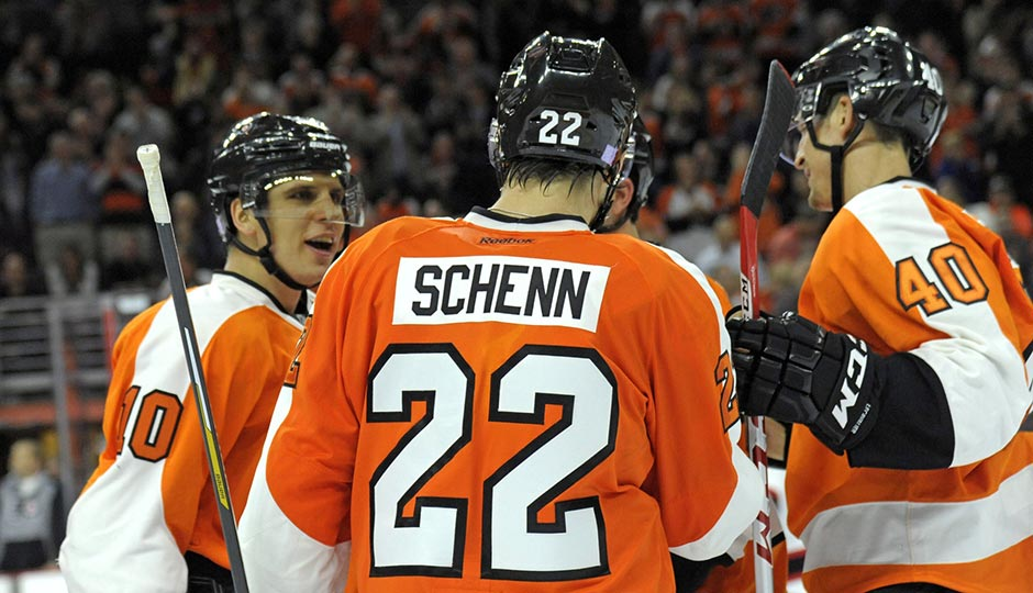 Oct 29, 2015; Philadelphia, PA, USA; Philadelphia Flyers defenseman Luke Schenn (22) celebrates his goal with center Brayden Schenn (10) and center Vincent Lecavalier (40) against the New Jersey Devils during the second period at Wells Fargo Center. Photo | Eric Hartline-USA TODAY Sports