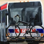 SEPTA bus mural with working bike rack | Photo via the Philly Electric Wheels blog