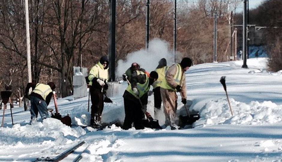 SEPTA workers dig out from the heavy weekend snow. | SEPTA Media Relations