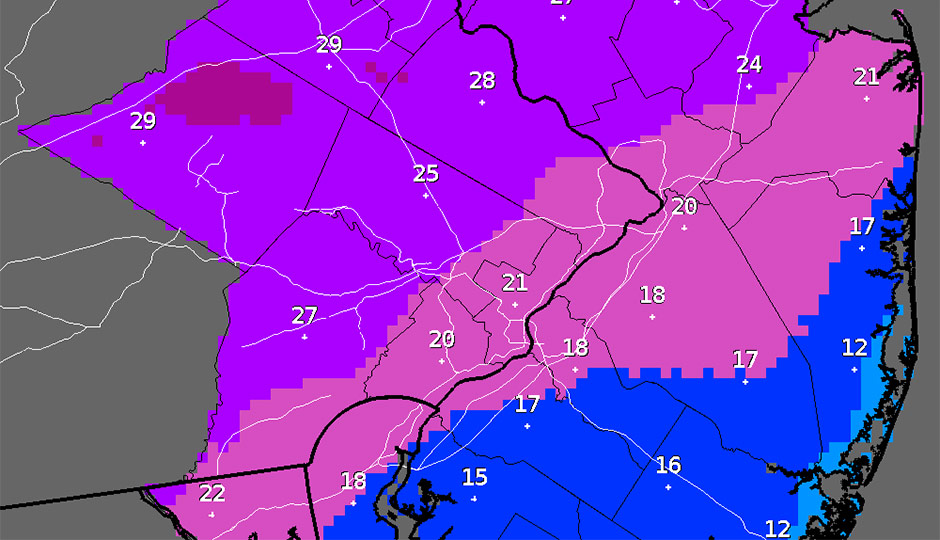 Snowfall - Philadelphia - Mt. Holly - forecast map