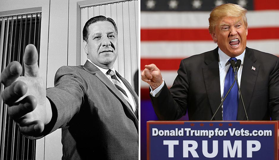 Frank Rizzo, 1968, and Donald Trump, 2016. Photographs by Bill Achatz and Andrew Harnik, Associated Press