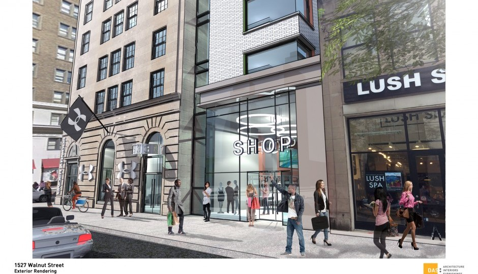 Rendering of the view from Walnut Street