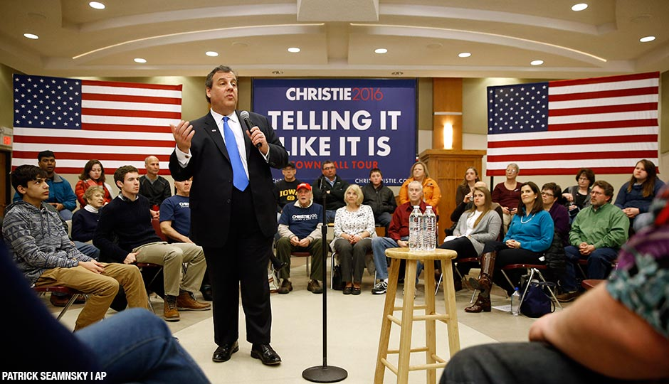 Republican presidential candidate, New Jersey Gov. Chris Christie speaks during a town hall at Morningside College in Sioux City, Iowa, Sunday, Jan. 31, 2016.