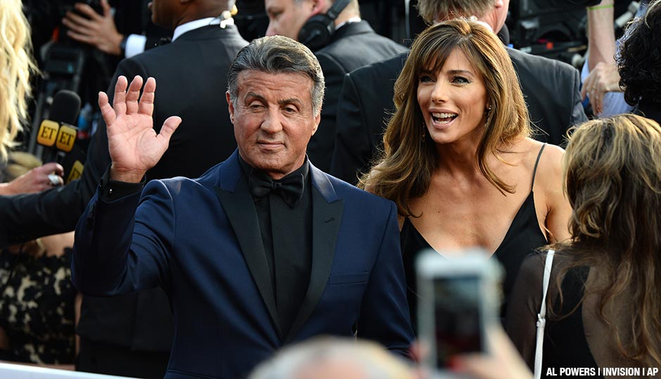 Sylvester Stallone and Jennifer Flavin arrive at the Oscars on Sunday.