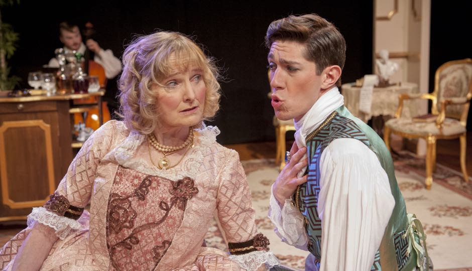 "Actors Donna Snow (L) and Nate Golden (R) in a scene from ""The Sisterhood."" Photography by John Flak, courtesy of Mauckingbird Theatre Company."