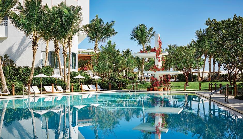 A pool at the  Miami Beach Edition. Photograph by Nikolas Koenig.