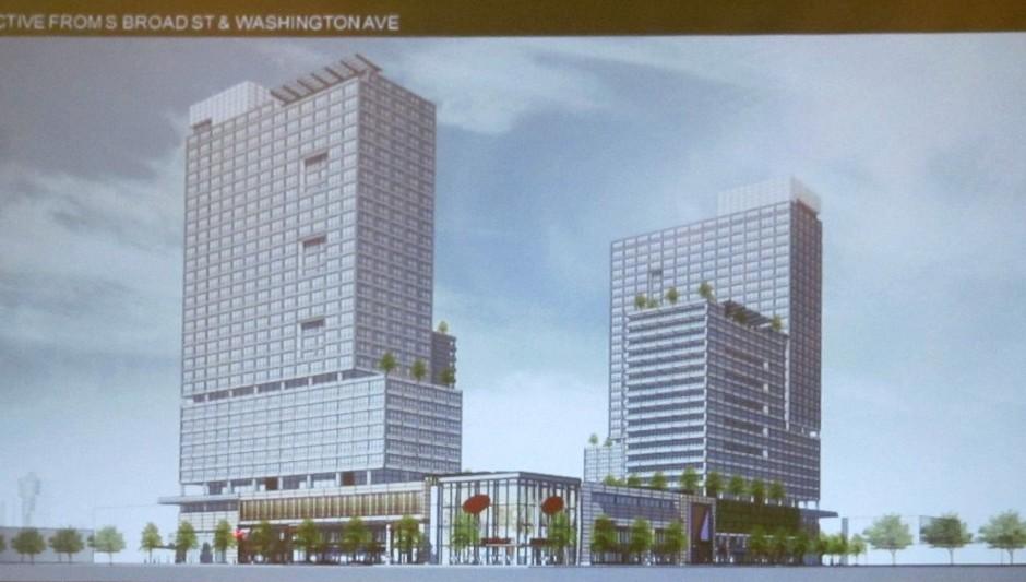 Previous rendering of Broad and Washington | Photo: James Jennings Rendering: