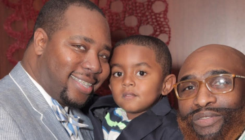 Jason Henderson-Strong (left) with his partner Anthony and their son, Marcelino.