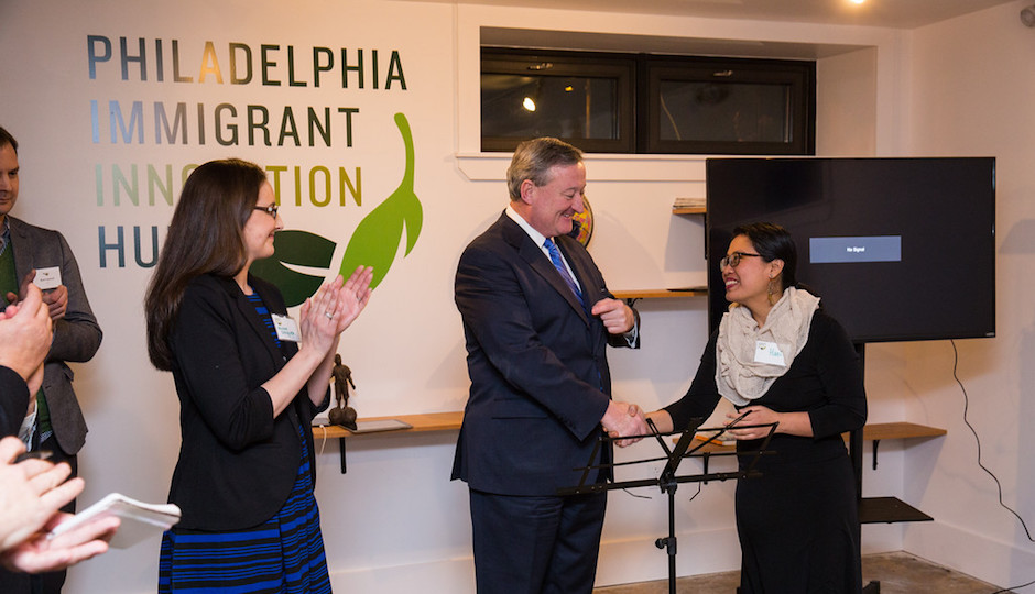 Mayor Jim Kenney attended the formal opening of the Philadelphia Immigrant Innovation Hub on Feb. [tk]. Photo | Brian James