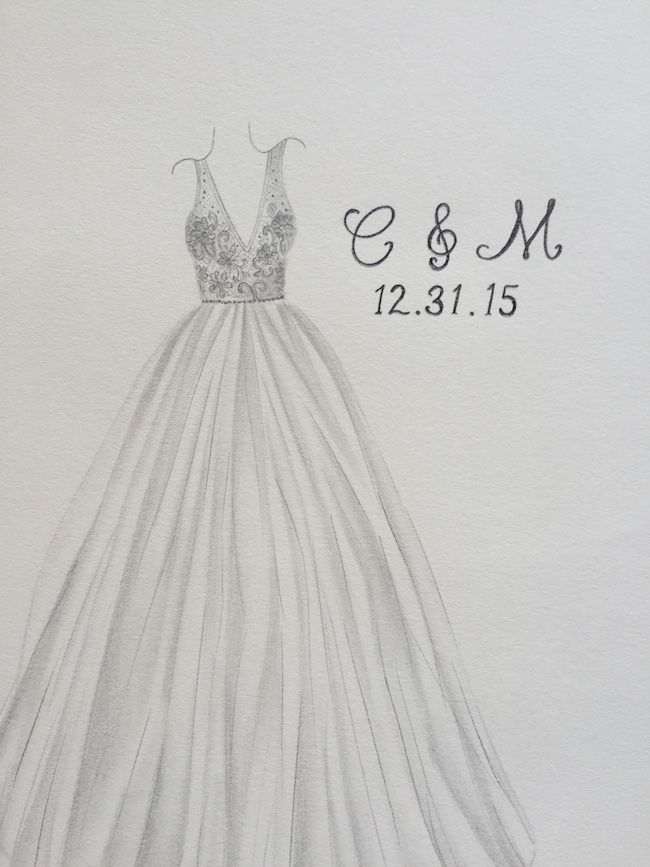 Commemorate Your Wedding Gown With a Sweet Sketch Of It from ...